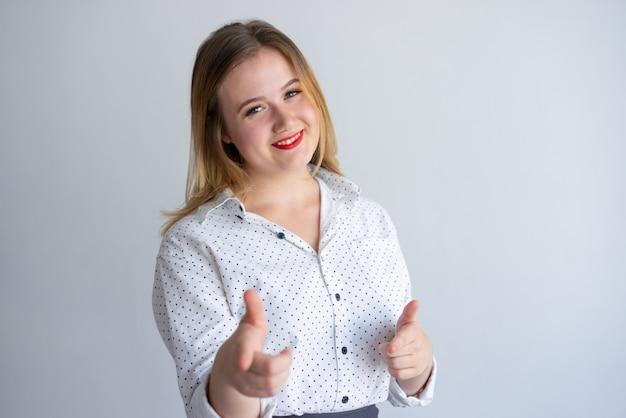 Positive confident girl choosing you