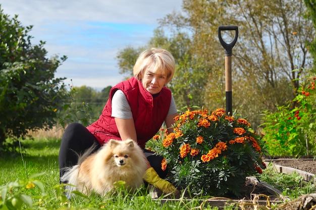 庭で働くポジティブな年配の女性庭師