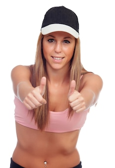 Positive female athlete ready for sports
