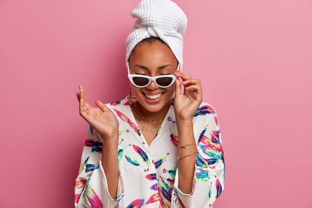 Positive happy woman with dark skin