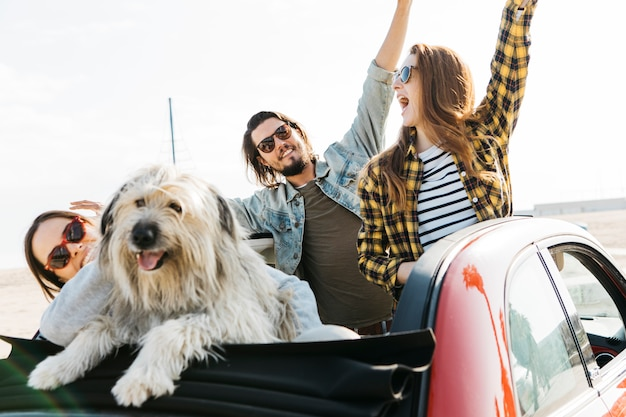 Positive man and smiling women with upped hands near dog leaning out from auto