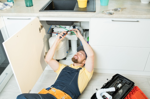 Positive plumber at work