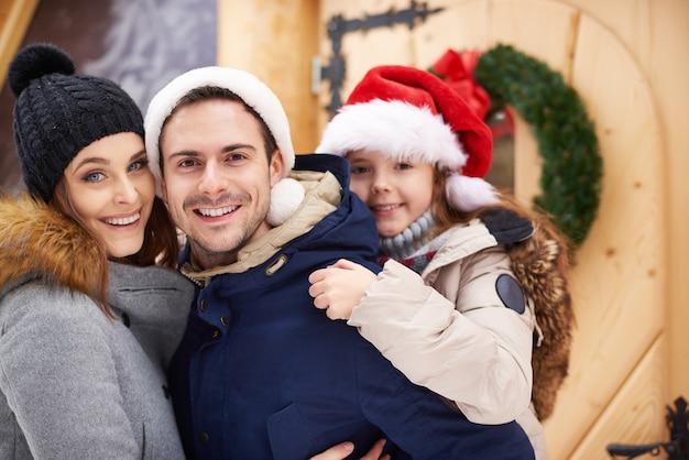 Positive scene of loving family