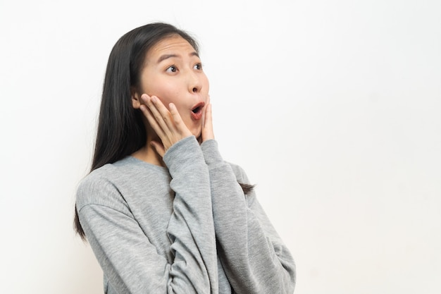 Positive shocked face emotion of asian young women.