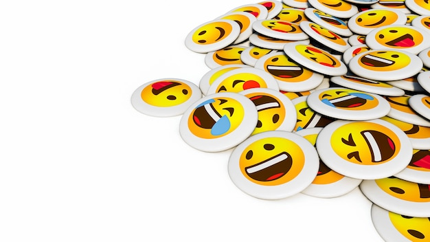 Positive smiley face pins isolated on a white background