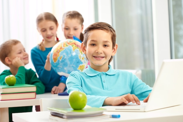 Positive student with classmates background