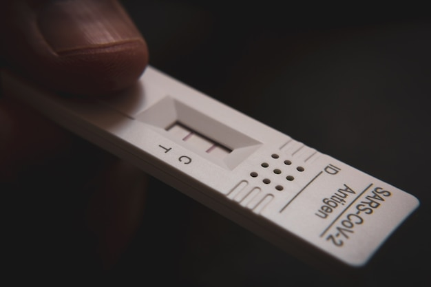 Positive test result by using rapid test device for covid-19, novel coronavirus 2019
