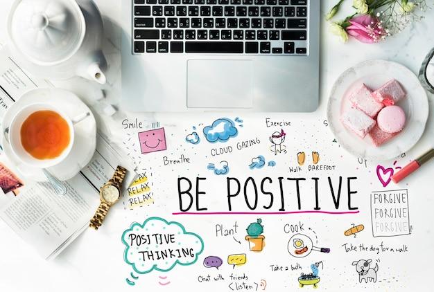 긍정적인 메시지 만화 일러스트 개념
