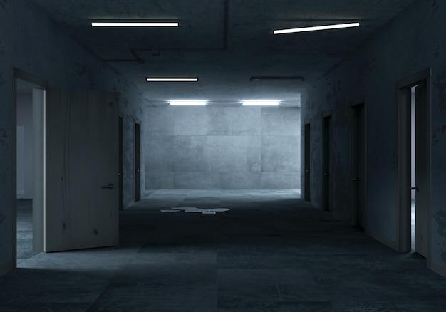 秘密研究所のポスト黙示録廊下