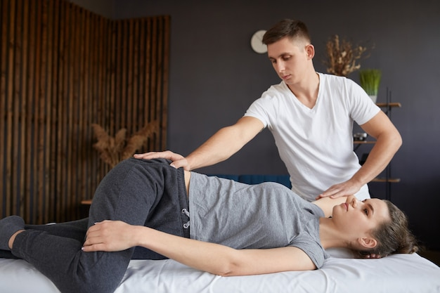 Post traumatic rehabilitation, sport physical therapy, recovery concept.