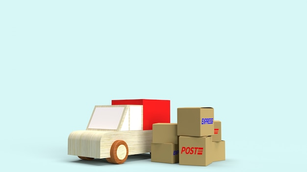 Postal boxes and wood van truck 3d rendering for delivery content.