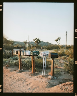 Postboxes in the californian desert