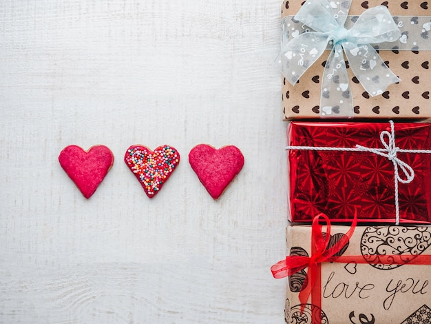 Postcard for sweet words of love and gift boxes