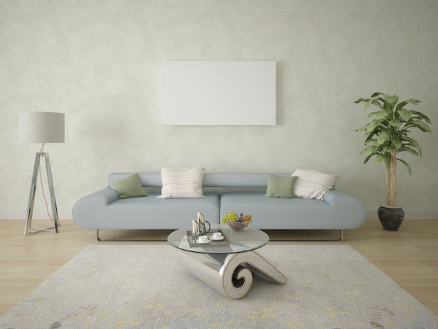 Poster on the background of contemporary wallpaper and a comfortable sofa