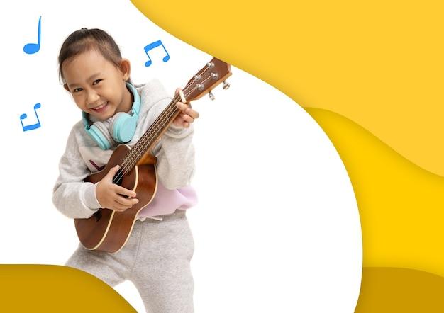 A4サイズのポスターチラシパンフレット表紙レイアウトデザインテンプレート、幸せなアジアの子供女の子はウクレレを再生します