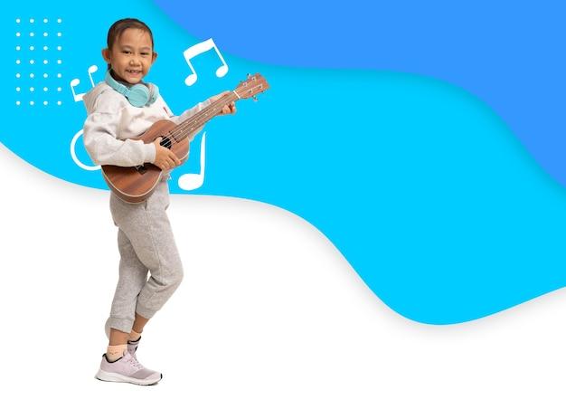 Poster flyer brochure happy asian child girl play ukulele