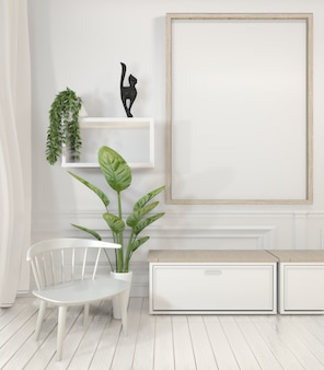 Poster frame and cabinet and decoration plants on white room minimal design.