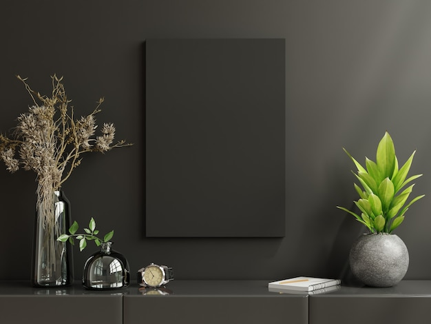 Poster frame on cabinet in living room interior on empty dark wall, 3d rendering
