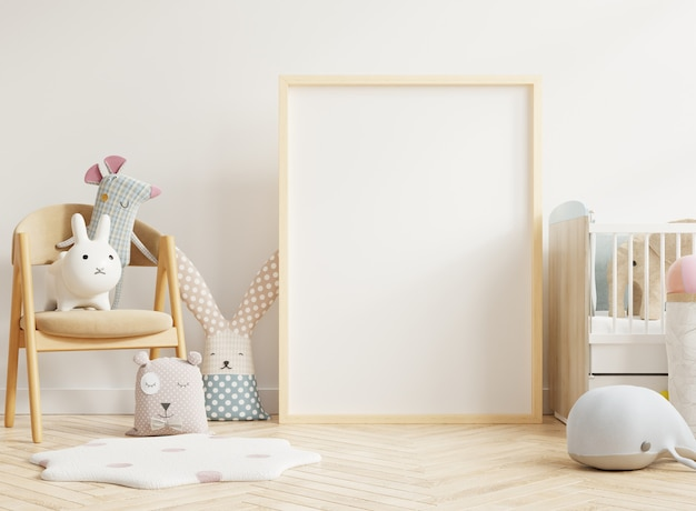 Poster frame in children room and decoration, 3d rendering