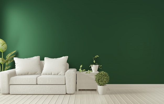 Poster frame on dark green living room interior.3d rendering