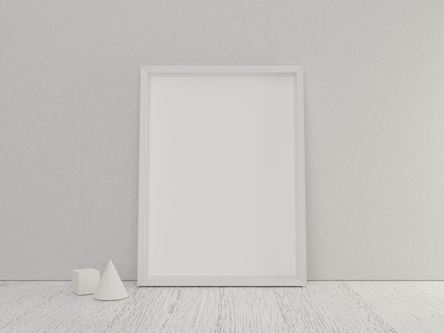 Poster frame empty with white wooden floor and mini geometric model
