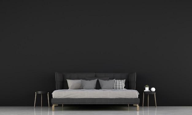 モダンなインテリアと空の黒のポスターフレーム、最小限のベッドルーム、スカンジナビアスタイル、3dレンダリング、