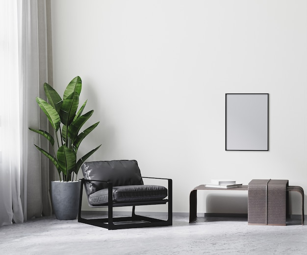 회색 톤의 현대적인 객실 내부의 포스터 프레임, 흰색 빈 벽 조롱, 3d 렌더링