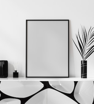 Poster frame mock up in bright modern interior with white wall, parfume, candle and cotton flower in vase, luxury interior background, 3d rendering