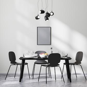 포스터 프레임은 검은색 테이블과 의자, 햇빛이 비치는 흰색 벽, 콘크리트 바닥, 미니멀리즘 스타일, 스칸디나비아, 3d 렌더링이 있는 현대적인 식당 내부에서 조롱합니다.