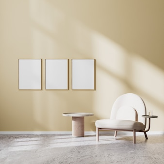 포스터 프레임은 베이지색 안락의자와 베이지색 벽과 콘크리트 바닥이 있는 커피 테이블, 스칸디나비아 스타일, 3d 렌더링을 갖춘 현대적인 거실 내부에서 조롱됩니다.