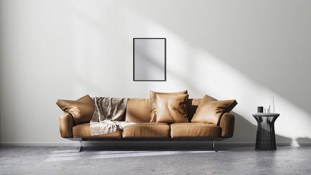 포스터 프레임은 흰색 벽과 태양 광선, 갈색 가죽 소파 및 검정색 디자인 커피 테이블이 있는 현대적인 거실 내부를 조롱하고 원시 콘크리트 바닥, 스칸디나비아 미니멀리즘 스타일, 3d 렌더링 프리미엄 사진