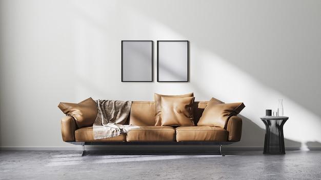 포스터 프레임은 흰색 벽과 태양 광선, 갈색 가죽 소파 및 검정색 디자인 커피 테이블이 있는 현대적인 거실 내부를 조롱하고 원시 콘크리트 바닥, 스칸디나비아 미니멀리즘 스타일, 3d 렌더링