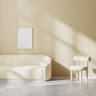 포스터 프레임은 밝은 베이지색 안락의자와 벽에 햇빛이 비치는 소파, 베이지색 벽 및 콘크리트 바닥이 있는 현대적인 미니멀리즘 디자인의 거실, 3d 렌더링