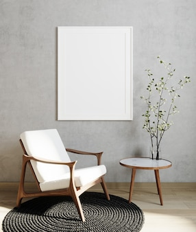 . poster frame mock up in modern living room interior background with white armchair and gray wall, minimalistic scandinavian style, 3d illustration