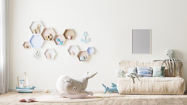 Poster frame mock up in stylish childrens room interior in light tones with toys, 3d rendering