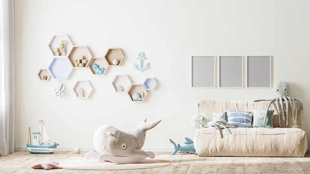 Poster frame mock up in stylish childrens room interior in light tones with toys 3d rendering