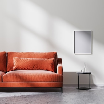 포스터 프레임은 빨간색 소파, 태양 광선이 있는 흰색 빈 벽이 있는 검은색 커피 테이블, 원시 콘크리트 바닥, 스칸디나비아 미니멀리즘 스타일, 3d 렌더링