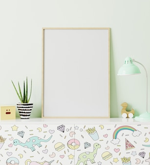 Poster frame mockup in children's room standing of chest of drawers with funny kids print, with light green wall on background, 3d rendering