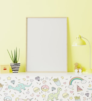Poster frame mockup in children's room standing of chest of drawers with funny kids print, with yellow wall on background, 3d rendering