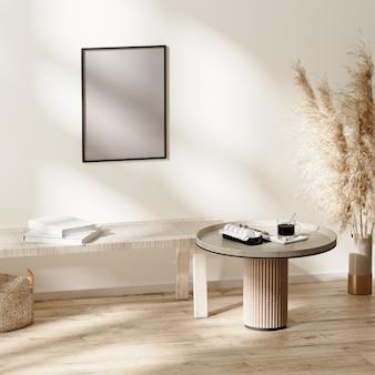 스칸디나비아 미니멀리즘 객실 내부의 포스터 프레임 모형은 가구, 3d 일러스트레이션을 갖춘 중성 색상으로 꾸며져 있습니다.