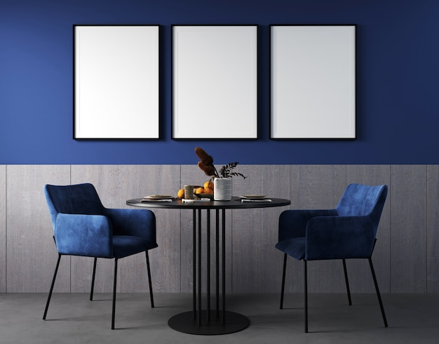Poster frame mockup in living room interior with blue chair, black table and bright decoration in dark blue background, 3d render