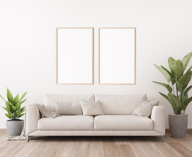 Poster frame mockup in minimal bright living room design