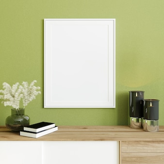 Poster frame mockup in modern interior background, green wall with wooden console, 3d render