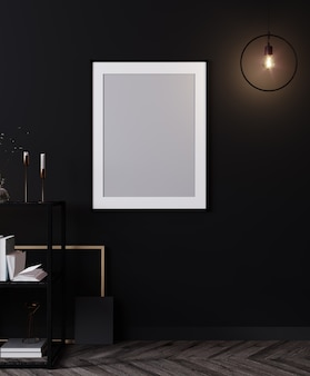 Poster frame in modern black interior