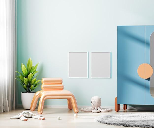 화려한 가구와 부드러운 장난감 어린이 방 인테리어에 파란색 벽에 포스터 프레임