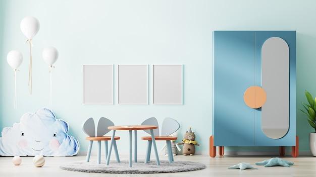 세련 된 현대 어린이 방 인테리어에 파란색 벽에 포스터 프레임