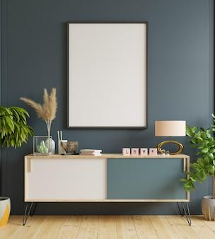 Рамка для плаката на шкафу и с черной стеной. 3d визуализация