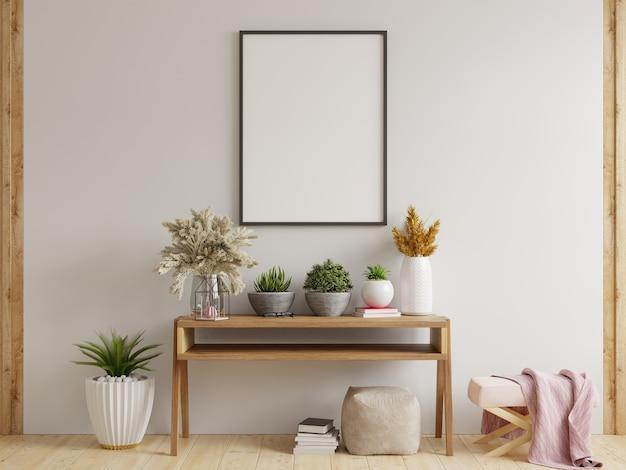 Рамка для плаката на шкафу в интерьере. 3d визуализация