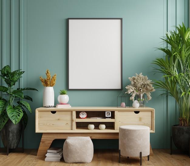 Рамка для плаката на шкафу в интерьере, темно-зеленая стена. 3d визуализация
