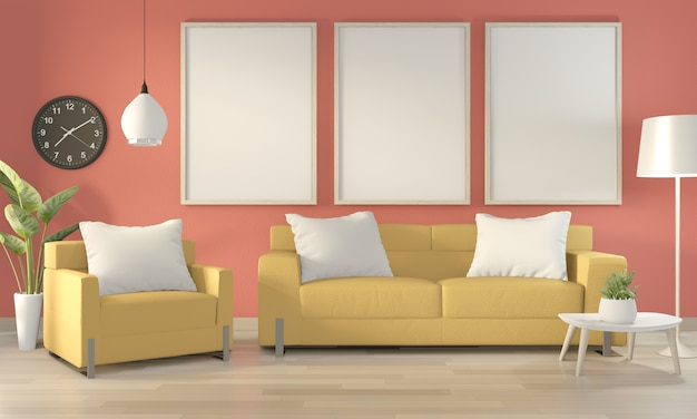 Poster frame in pink living room with yellow sofa and decoration plants on floor wooden.3d rendering
